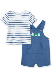 SS STRIPE TEE/BOATS OVERALL SET