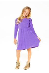 LS ASYM RUFFLE COZY DRESS