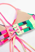 Load image into Gallery viewer, RAINBOW STRIPES STRAPPY BACK BIKINI