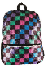 Load image into Gallery viewer, CHECKERBOARD SEQUIN BACKPACK