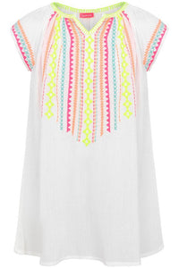 NEON EMBROIDERED GAUZE DRESS