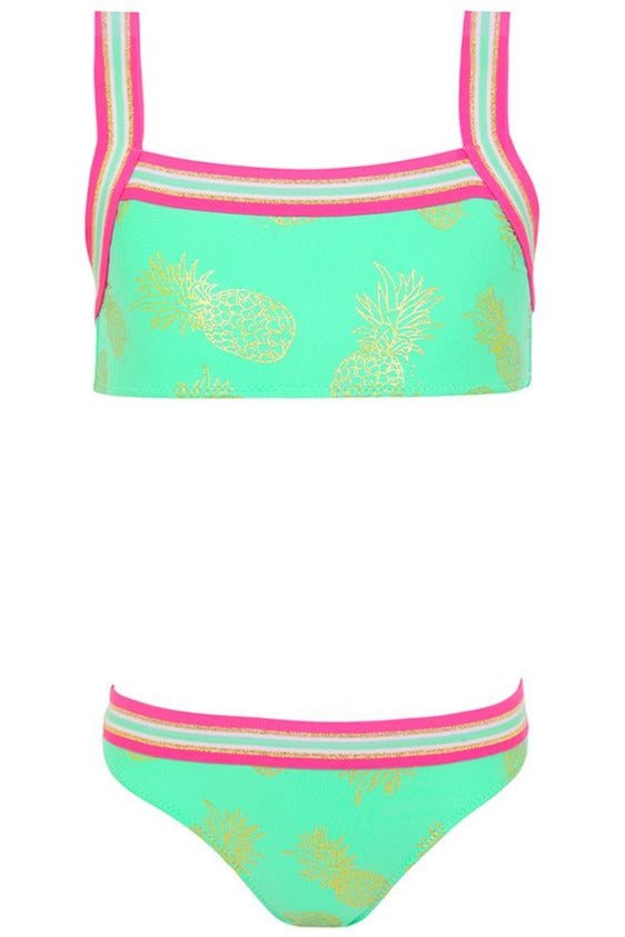 2PC PINEAPPLE GLITTER BANDEAU/SURF BOTTOM