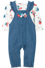 Load image into Gallery viewer, FLORAL EMBROIDERED OVERALLS & BODYSUIT SET