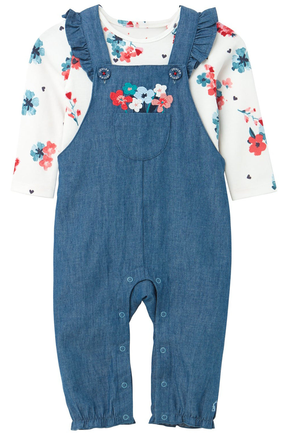 FLORAL EMBROIDERED OVERALLS & BODYSUIT SET