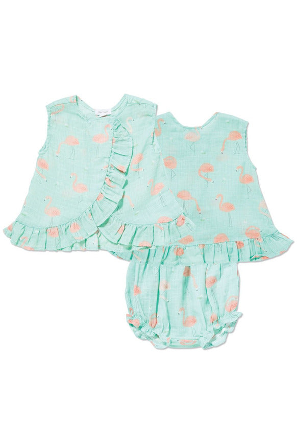 FLAMINGO RUFFLE TOP & BLOOMER SET