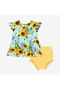 SUNNY SUNFLOWER PEPLUM TOP & BLOOMER SET