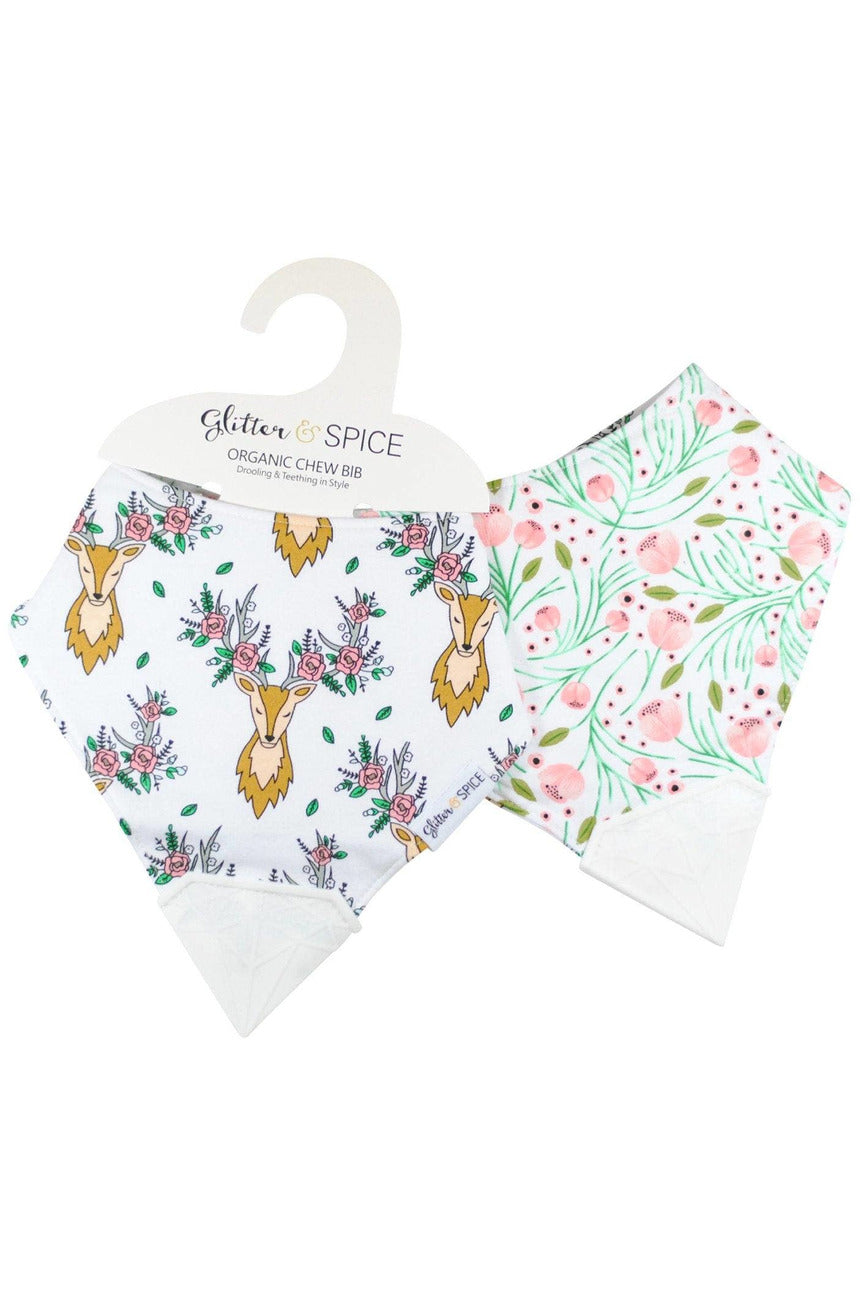 DEER & TULIP DBL SIDE TEETHER BIB