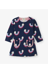LS RBW BIRDS PCKT DRESS