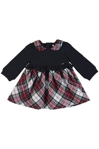 LS FX LYR TARTAN SKIRTED DRESS