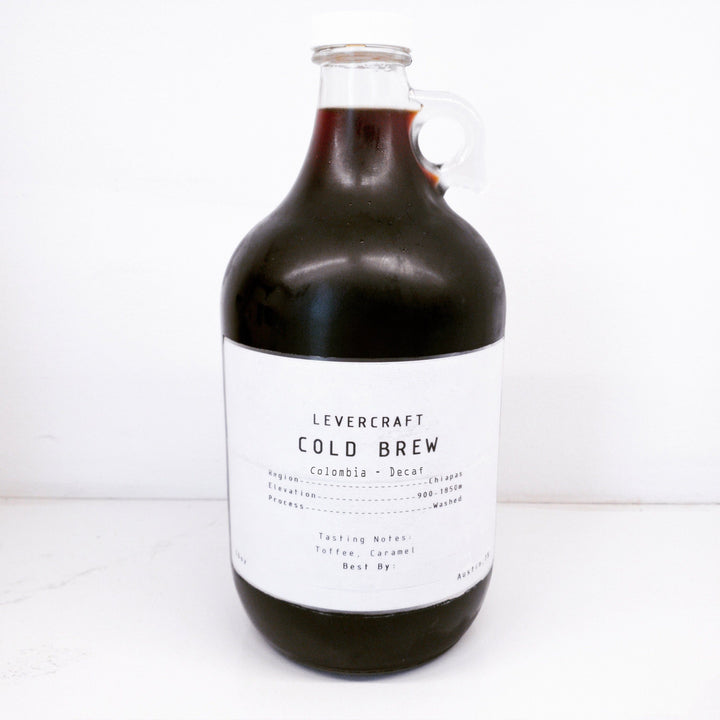Cold Brew - Colombia Decaf - 64oz - Concentrate (Makes 12 servings) Cold Brew LeverCraft Coffee