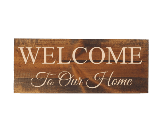 engraved wood welcome to our home sign- Woodbott