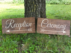 wood reception sign and wedding ceremony arrow sign - Woodbott