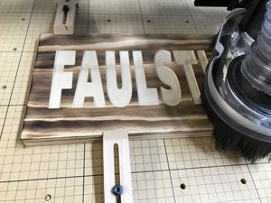 custom wood burned engraved family name sign in progress - Woodbott
