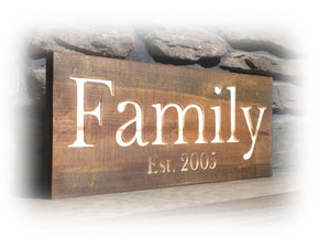rustic engraved family sign with established date - Woodbott