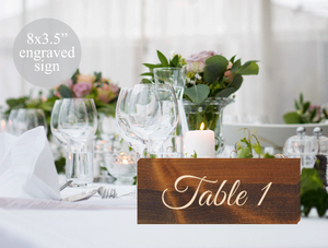 engraved wood rustic wedding table number signs - Woodbott