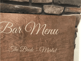 engraved drink menu sign - Woodbott