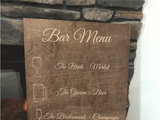 custom wedding bar menu sign - Woodbott