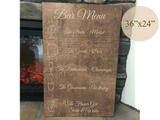 engraved wood bar menu sign - Woodbott