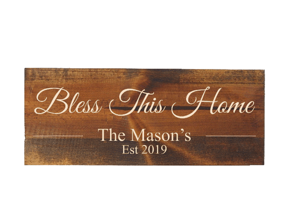 bless this home sign - personalized rustic home decor - Woodbott