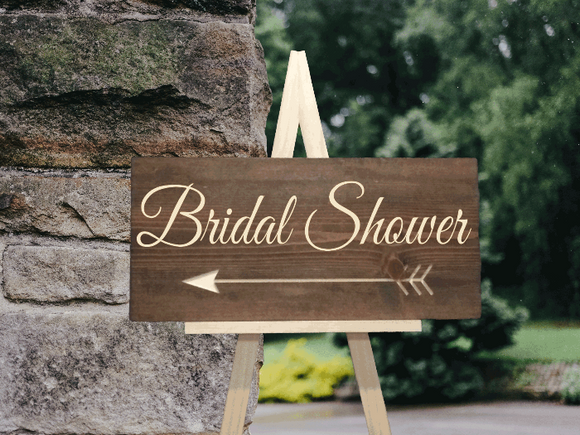 rustic wooden bridal shower arrown sign - Woodbott