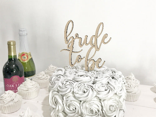 wood bride to be cake topper - wood bridal shower decoration - Woodbott