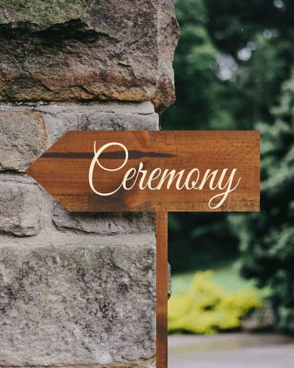 rustic ceremony arrow sign - directional wedding sign - Woodbott