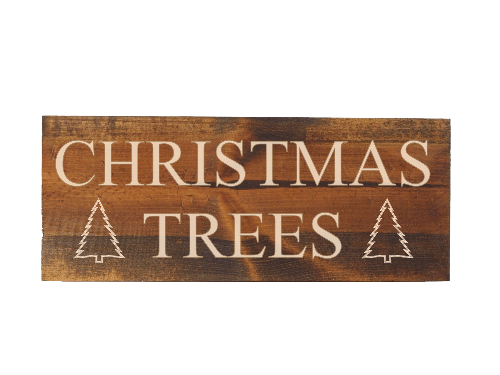 engraved wood christmas trees sign -  rustic wooden christmas decor - Woodbott