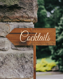cocktails arrow sign - wedding decor - Woodbott