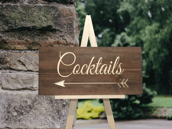 cocktails this way sign - rustic wedding decor - Woodbott