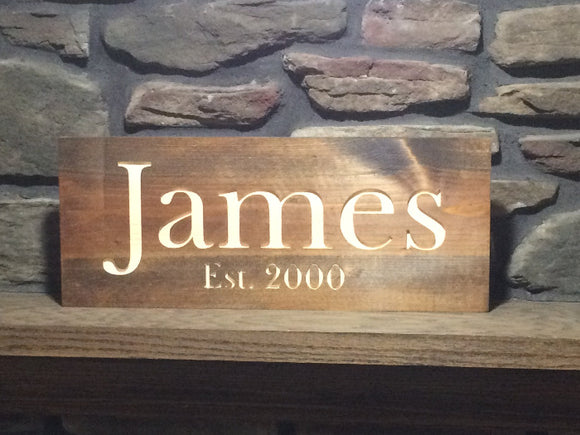 custom family name sign - wood home decor - Woodbott