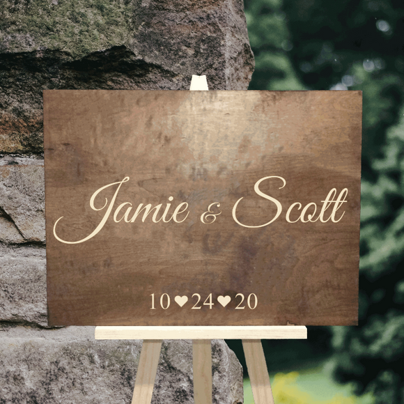 engraved custom wood wedding sign - Woodbott