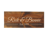 custom wood name sign with wedding date - engraved anniversary gift - Woodbott