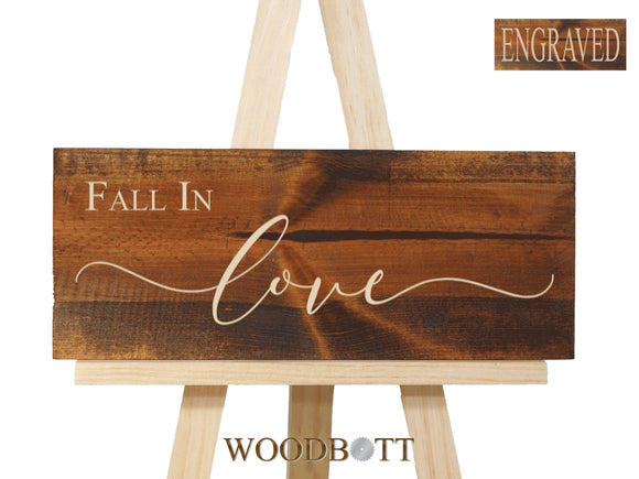 Engraved Fall In Love Sign