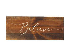 engraved wood believe sign - Woodbott