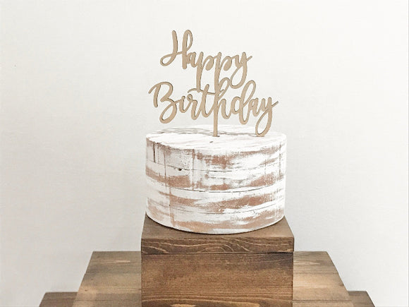 wooden happy birthday cake topper - Woodbott