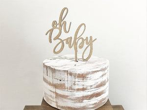oh baby cake topper, wood baby shower cake topper, rustic calligraphy baby shower decorations, wooden cake skewer, woodland cake pick