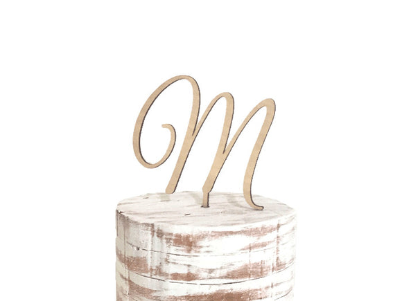 m monogram wedding cake topper - rustic wedding decor - Woodbott
