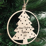 christmas tree ornaments - personalized name holiday decor - Woodbott