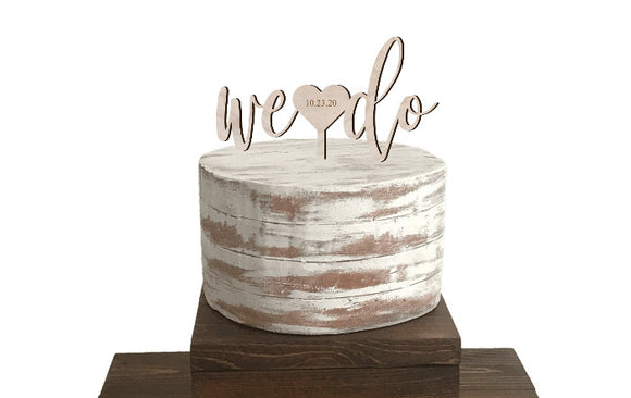 we do wedding cake topper with engraved wedding date - Rustic wood wedding decorations - Woodbott