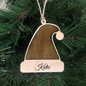 santa hat christmas ornaments - Woodbott