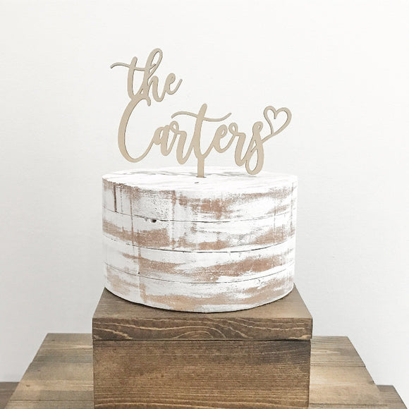 custom name wedding cake topper - wood wedding decorations - Woodbott