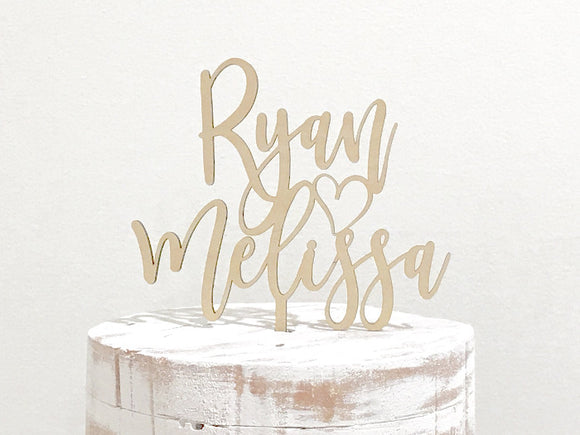 personalized name wooden cake topper - rustic wedding decorations - Woodbott