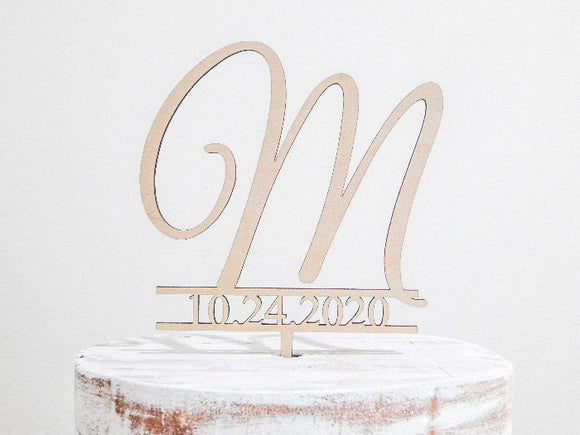 monogram wedding cake topper - Rustic wedding decor - Woodbott