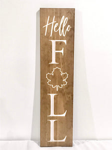 Hello Fall Sign with Maple Leaf Design - Woodbott