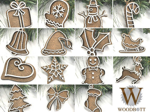 set of gingerbread cookie ornaments - Woodbott