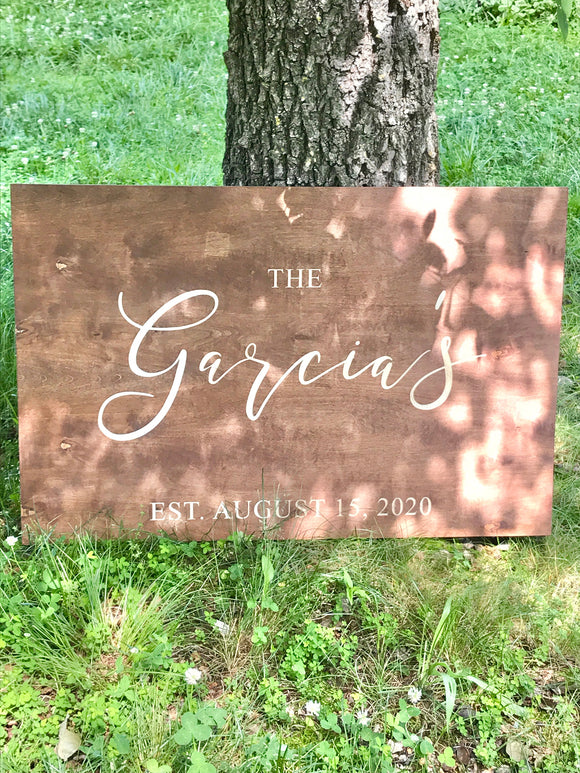 custom wedding sign for wedding reception decor, wooden personalized last name sign, est date engraved wood signs memory keepsake heirloom