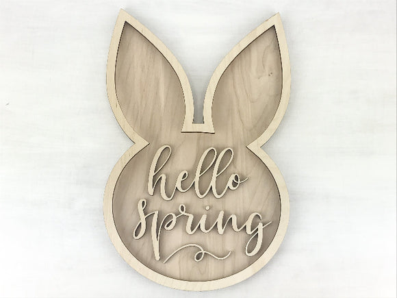 bunny face hello spring diy sign kit - Woodbott