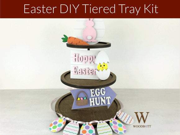 diy easter tiered tray kit - spring home decor project ideas - Woodbott