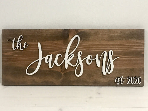 family name sign - established date wedding sign gift ideas - Woodbott