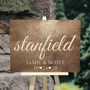 personalized last name wedding sign with first names and wedding date - Woodbott